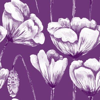 Image Purple and white poppy pattern