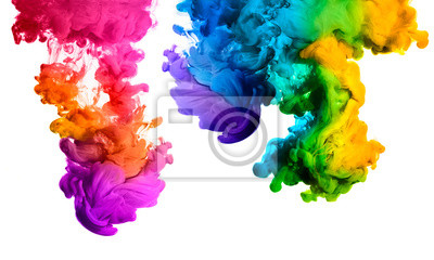 Image Rainbow Acrylique Encre dans l'eau. Color Explosion