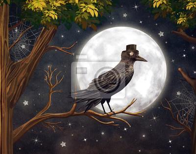 Raven dans un clair de lune dans une forêt sombre, illustration art