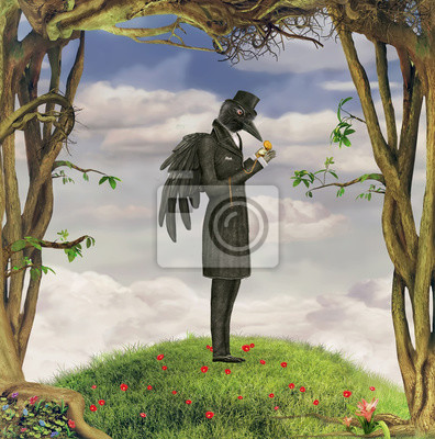 Raven dans une forêt sombre regarde la montre