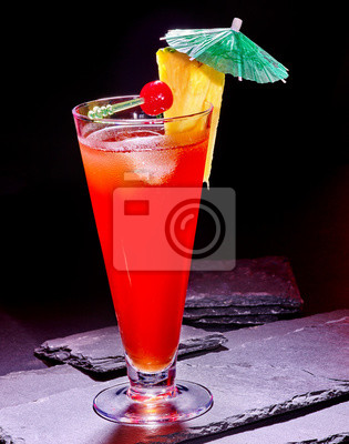 Red  drink  with cherry and pineapple  79.