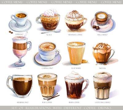 Image Réglez avec différentes boissons de café pour le menu de café ou de café. Illustration d'un expresso fort, d'un café au lait doux, d'un macchiato sucré et d'un cappuccino, d'un café viennois et d'une