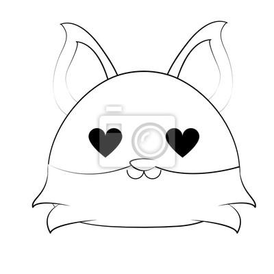 Image Renard Yeux Coeur Mignon Animal Dessin Animé Icône Image