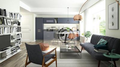 Image: Rendu 3d dun salon moderne et cuisine ouverte avec un schéma