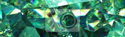 Image Rendu 3d, fond abstrait cristal vert, texture facettes, macro émeraude bijou, panorama, fond d'écran panoramique large polygonale