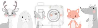 Image Renne, raton laveur, phoque, loup, pingouin, ours, jeu d'hiver bébé renard. Illustration animale mignonne
