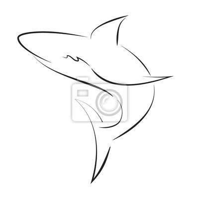 Requin De Ligne Noire Sur Fond Blanc Main Dessin Graphique