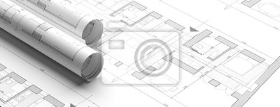 Image Residential building blueprint plans, banner. 3d illustration