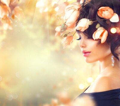 Image Ressort, femme, magnolia, fleurs, cheveux