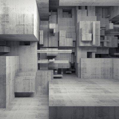 Image Résumé, 3D, béton, intérieur, à, chaotique, cubes