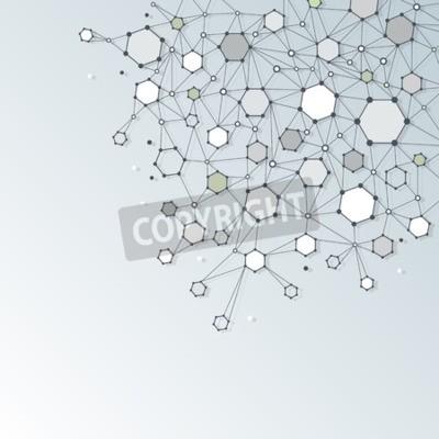 Image Résumé, ADN, molécule, structure, polygone, lumière, gris, couleur, fond Vecteur, Illustration, de, communication, -, réseau, pour, futuriste, technologie, concept