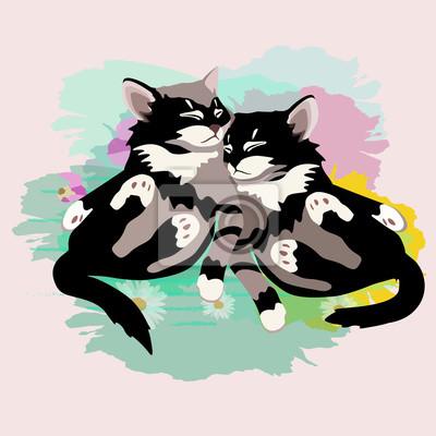 Résumé, aquarelle, croquis, deux, drôle, noir, blanc, mignon, chaton, coloré, patchs, fleurs