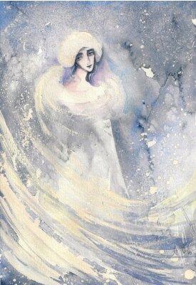 Image Résumé, aquarelle, illustration, dépeindre, portrait, femme, hiver