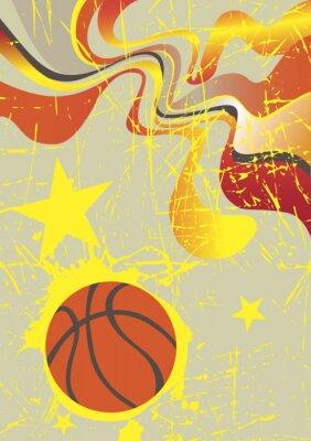 Image Résumé bannière verticale de basket-ball avec des étoiles jaunes