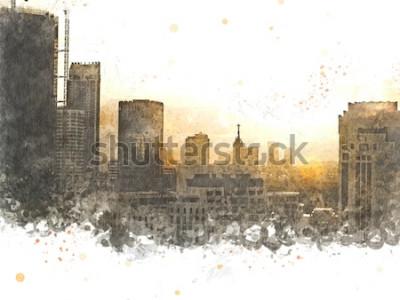 Image Résumé bâtiment dans la ville sur fond de peinture aquarelle. Ville sur illustration numérique brosse à l'art.