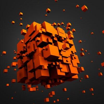 Image Résumé de rendu 3D de cubes volants.