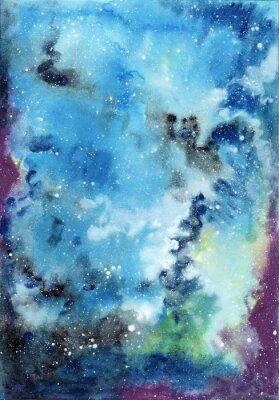 Image Résumé, espace, aquarelle, fond, étoilé, ciel, gaz, nuages