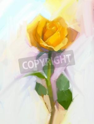 Image Résumé fleur de rose jaune avec peinture à l'huile à feuilles vertes. Floral peint à la main dans une couleur douce et un fond de style flou