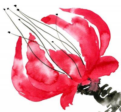 Image Résumé fleur rouge. Dessin de pavot. Illustration d'aquarelle et d'encre dans le style sumi-e, u-sin. Peinture traditionnelle orientale. Isolé sur fond blanc.