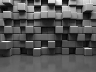 Image Résumé Fond gris Cube Blocs mur