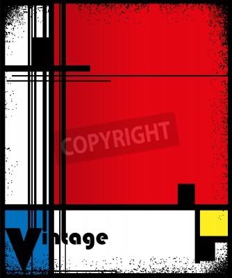 Image Résumé, fond, style, cubisme, rouge, bleu, jaune, carrés