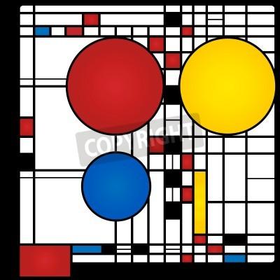 Image Résumé, fond, style, cubisme, rouges, bleu, jaune, carrés, rondes