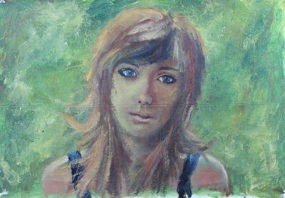 Image Résumé, girl, portrait, vert, huile, peinture, toile