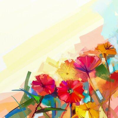 Image Résumé peinture à l'huile de fleurs de printemps. Nature morte de fleur jaune et rouge de gerbera. Fleurs colorées de bouquet avec le fond vert-bleu clair de couleur. Peint à la main floral style impr