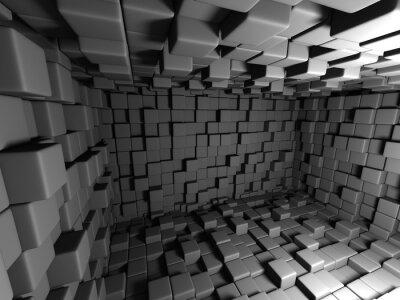 Image Résumé, sombre, cubes, mur, salle, fond