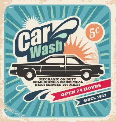 Image Rétro affiche de lavage de voiture