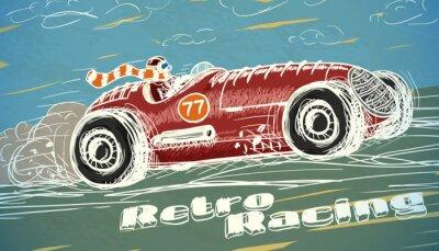 Image Rétro affiche de voiture de course
