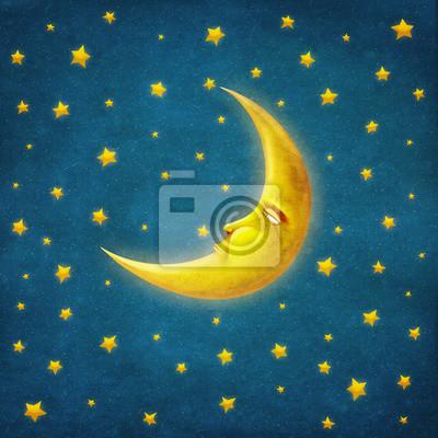 Rétro, Illustration, nuit, temps, étoiles, lune ...
