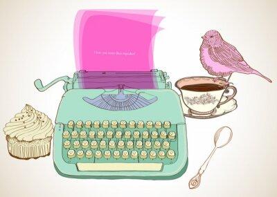 Image rétro machine à écrire fond