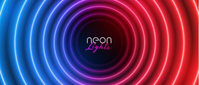 Image retro neon circular blue and red light banner