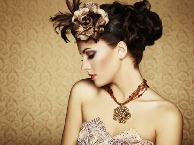 Image Retro portrait d'une belle femme. Style vintage