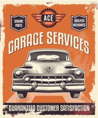 Image Rétro signe vintage - Affiche publicitaire - voiture classique - garage