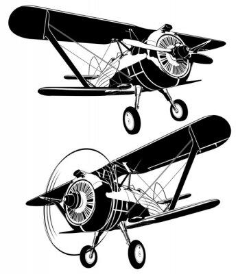 Image Rétro silhouettes de biplan biologique. Format vectoriel disponible EPS-8 séparé par groupes et couches pour faciliter l'édition