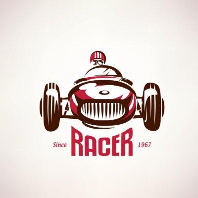 Image rétro voiture de course, symbole vecteur vieux, emblème, modèle d'étiquette