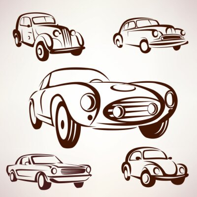 Image Retro, voitures, vecteur, collection, daign, éléments, fro, Étiquettes, emble