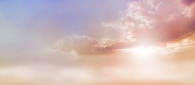 Image Rêveur, romantique, ciel, scape - beau, large, pêche, sombre, pâle, bleu, ciel, nuage, scape, éclat, lumière soleil, émerger, sous, nuage, base, copie
