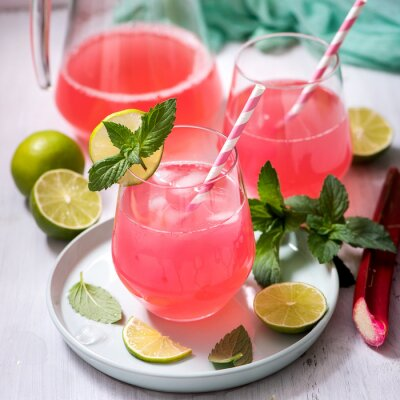 Rhubarb drink with lime and mint, refreshing summer drink
