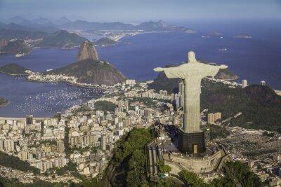 Image Rio de Janeiro, Brésil: Vue aérienne du Christ et Botafogo Bay