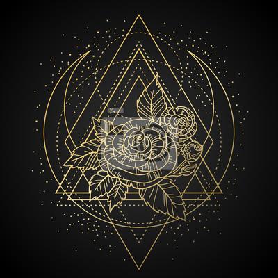 Image Rose Fleur Sacre Geometrie Cadre Tatouage Symbole Mystique