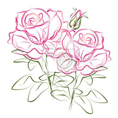 Image Roses Roses Main Dessin Stylisé Couleur Vecteur Brosse