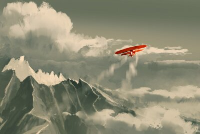 Image Rouge, biplan, voler, sur, montagne, Illustration, numérique, peinture