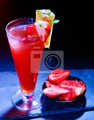 Rouge, framboise, boisson, ananas, tranche, noir, fond Carte de cocktail 91.