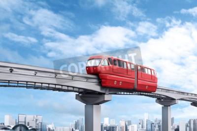 Image Rouge, monorail, train, contre, bleu, ciel, moderne, ville, fond