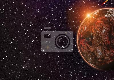 Rouge, planète, cosmos, étoiles, Arrière-plans