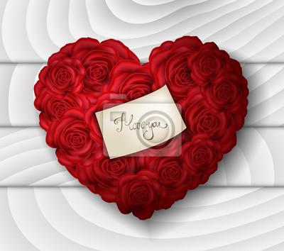 Rouge Rose Coeur Amour Message Blanc Bois Fond Peintures