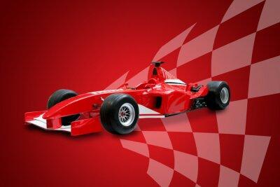 Image rouge voiture de Formule Un et le drapeau de course